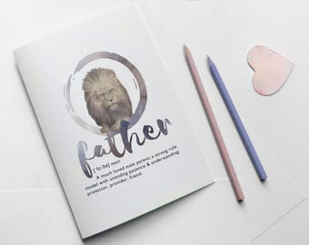 Father fun greeting card download - card for father birthday - lion art for dad - fathers day instant digital artwork - father definition