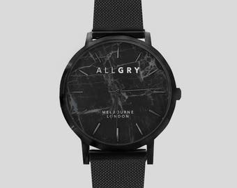 All Black Midnight Marble Watch with Black Mesh Strap - Perfect Gift - Marble Watch - Black Marble Watch - Watch