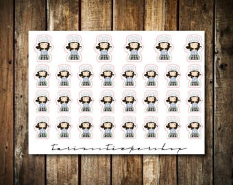 Baking - Cute Brunette Girl - Functional Character Stickers