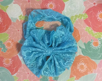 Tourquise Lace Headband With Bow