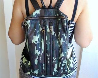 Vintage Leather Camouflage Backpack/Vintage Leather Unisex Rucksack/School Handbag/Unused