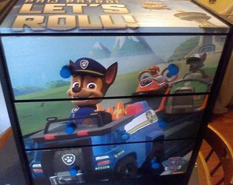 Sugar Coated New 3 Drawer Chest Nightstand Paw Patrol Furniture Art Great Gift Solid Wood Storage
