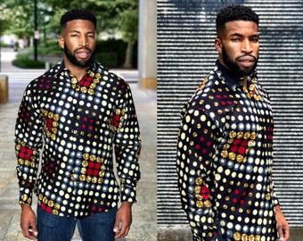 Men's Long Sleeve Shirt Ankara Designs