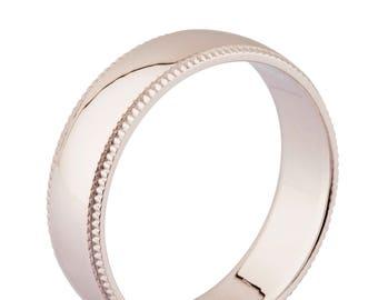 6mm Milgrain Silver Wedding Ring, wedding band