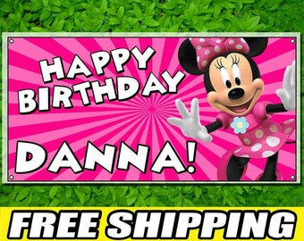 Minnie Mouse Personalized Printed Custom Name Vinyl Banner Happy Birthday Banner