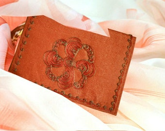 Clutch bag Italian straw, Moire silk interior, Orange bag,  Evening bag,  Embroidered bag. (2)