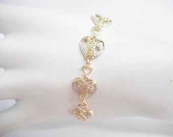 "Heart Bracelet, Sterling Bracelet, Link Bracelet, Genuine Sterling Silver Heart Shaped Cubic Zirconia Link Bracelet 7.5"" #2579"
