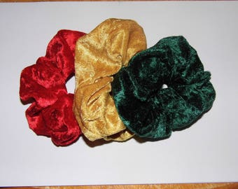 Pack of 3 Christmas party velvet hair ruffles / scrunchies red green gold festive prom bridesmaid