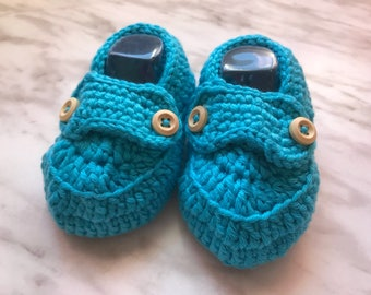 Cozy Baby Loafers-Girls & Boys Blue cotton booties with buttons