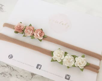 Baby headband, baby girl, newborn headband, baby girl headbands, newborn photo prop, floral headband, flower crown, flower headband