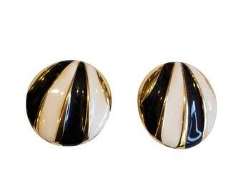 Vintage 1970's Gold Metal with Monochrome Enamel Clip On Earrings