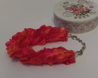 Red scarf Scarf necklace Layered fabric necklace  Chunky Necklace Chunky scarf