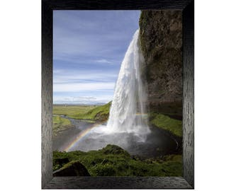 Waterfall Print, Rainbow Wall Art, Landscape Home Decor, Water Print, Instant Download