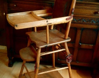 EDWARDIAN ANTIQUE METAMORPHIC Children's High Chair // English Convertible Nursery Furniture // Wonderful Prop For Shop or Child's Room