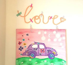 Canvas naif beetle son of flowers painted canvas