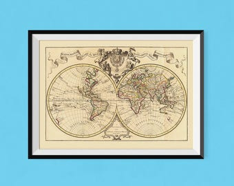 Mappemonde Poster 1742 | A View of the World | Fine Art Reproduction Print, Copy, Poster. High Quality World Atlas Globe, Mappamonde Print