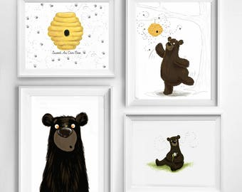Nice Honey Bee Bear Cub Baby Room Art Print Collection, Baby Shower Fingerprint  Guestbook, Nursery