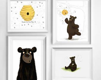 Honey Bee Bear Cub Baby Room Art Print Collection Shower Fingerprint Guestbook Nursery