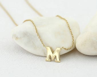 Small Initial Necklace in 14k Gold / Initial Necklace / 14k Gold Letter Necklace / Single Initial Necklace / Personalized Gift