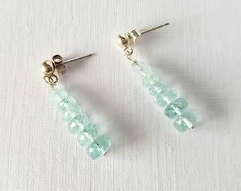 Aquamarine 925 Sterling Silver Drop Earrings. March Birthstone.