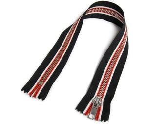 Zipper closed end for Biker coveralls black/white/red