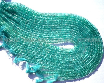 Rondelles Faceted Beads in Apatite Beads, Quality AAA, 4 mm, 36 cm, 133 pieces, AP-044/1, Semiprecious Gemstone Beads, Craft Supplies