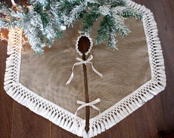 natural burlap christmas tree skirt with trim fringe burlap treeskirt burlap rustic christmas tree - Rustic Christmas Tree Skirt