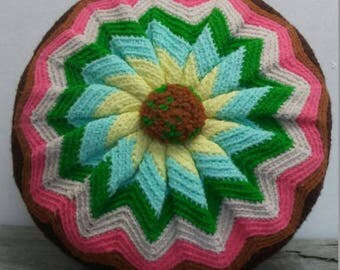 Vintage Crochet Boho Chevron Round Toss Pillow