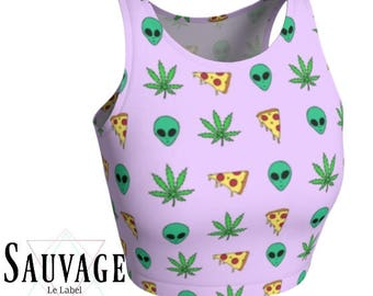 Pizza aliens and 420 - Athletic pink and white Crop Top • Festivals and yoga classes approved • handmade in Montreal