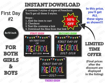 First Day of Preschool Sign, First Day of School Sign, Preschool Sign 2017, First Day Printable, 1st Day School, Preschool, School Signs