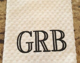 Waffle Weave Monogrammed Kitchen Towel-Custom Housewarming Gift-Custom and Personalized Realtor Gift