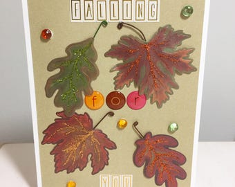 handmade card // falling for you // leaves // autumn // gold // green // red //orange // brown // copper // love