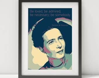 Simone de Beauvoir, Simone de Beauvoir poster, quote poster, feminism, writer quote, existentialist, pop art, literary poster, sartre