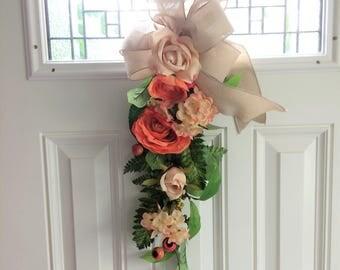 Peach Rose Swag Housewarming Gift Fall Swag Door Wreath Swag Fall Swag & Door swag | Etsy