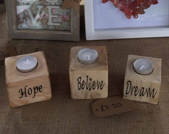 Handcrafted Reclaimed & Upcycled Candle Holders set of 3