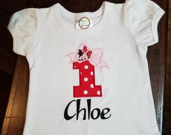 2nd Birthday Shirt, Minnie Mouse Birthday Shirt, 2 Bow Birthday Shirt, Monogramed Birthday Shirt, Personalized Birthday Shirt, Girls Shirt