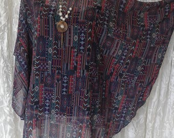 Tunic Chic and casual purple print pattern ethnic Caftan, Kaftan Style, hand made