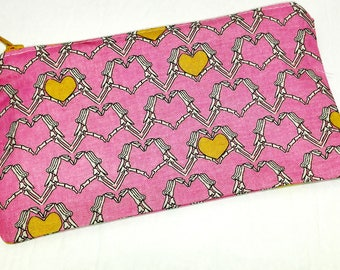 Skeleton Hearts Novelty Zipper Pouch - makeup bag; pencil case; gift for her; cosmetic bag; carry all; gadget case; medicine bag