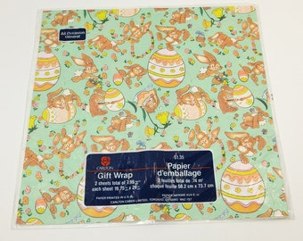 Vintage Easter Bunny Wrapping Paper in Original Packaging - gift wrap; children's; collectible; 1970's; 1980's; rare; OOAK; all occasion