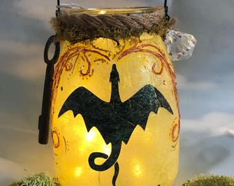 DRAGON GIFT, Dragon jar, Fairy lantern,  magic lantern, mystical gift, OOAK, fairy lights, gift for warlocks, Birthday gift, magical gift, p
