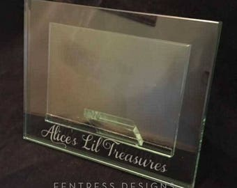 Personalized Engraved Glass Photo Frame (4x6). Custom Personalization available.