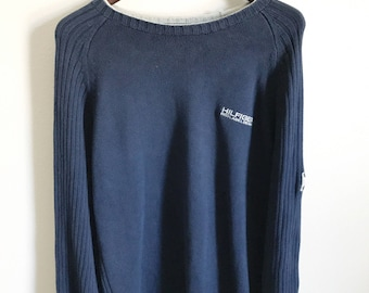Vtg 90s Tommy Hilfiger sweater mens XL blue pullover crew ribbed flag patch