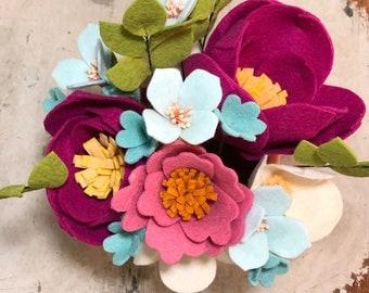 Fuchsia Felt Flowers & Salmon Vase