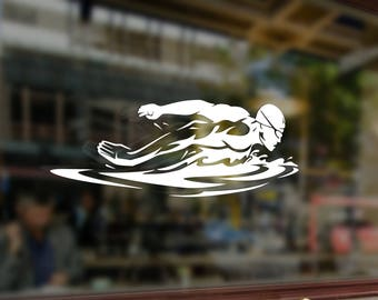 Swim Swimmer Swimming Vinyl Sticker Funny Decals Bumper Car Auto Laptop Wall Window Glass Skateboard Snowboard Helmet
