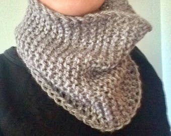 Chunky Knit Cowl / Knit Neck Warmer / Comfy Knit Cowl / Cold Weather Apparel / Cozy Gift / Chunky knit scarf / gray scarf