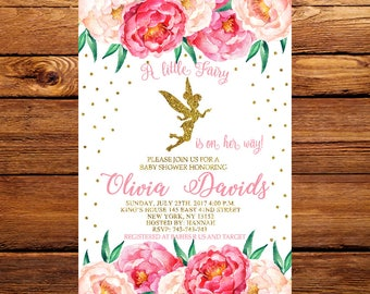 Floral Fairy Invitation, Fairy Baby Shower Invitation, Magical Fairy Invite, Fairy Invitation, Blush Pink Gold Fairy Party 229