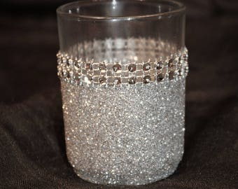 10 silver glitter tealight votive holders glitter candle holders silver wedding