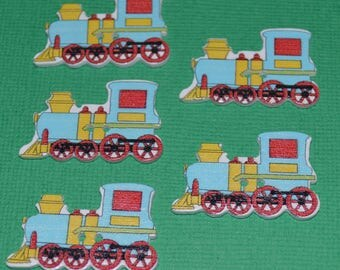 5 x Sky Blue Train - 2 Hole - Wooden Buttons -