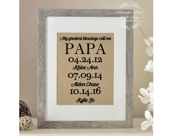 My Greatest Blessings Call Me Papa, Personalized Gift for Papa, Grandpa Christmas Gift, Papa Birthday Gift, Christmas gift for Grandpa