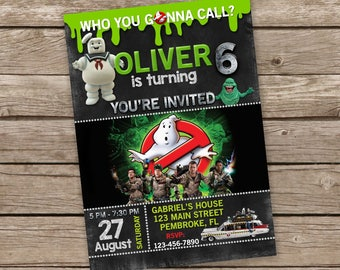 Ghostbusters invitation, Ghostbusters birthday invitation, Ghostbusters Birthday Invite, GhostBusters Birthday Party, Ghostbusters Invite